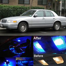 Blue LED Interior Kit+Blue License Light LED For Ford Crown Victoria 1999-2011
