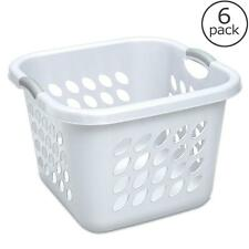 Square Laundry Basket White Washing Hamper Clothes Plastic Carry Linen Bin 6 Pk