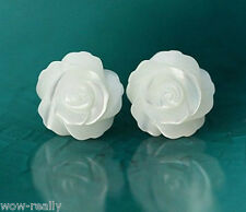 New 925 Silver Post White Mother of Pearl 12MM Rose Flower Stud Earring