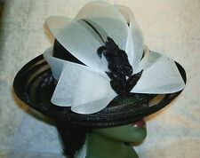 Exotic Black / White See-Through Brim Ladies Summer Poly Church Hat Clearance