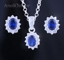 Sterling Silver Set Jewerly with Sapphire and Zircons Earrings Pendant GiftBox