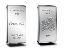 1 OZ PURE SILVER SWISS MADE BULLION BAR .999 MINT 1oZ invest now  ( SILVER BARS