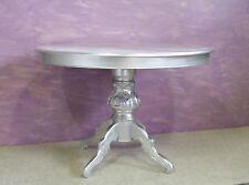 Tavolo barocco,rotondo,allungabile,gambo centrale in  foglia argento