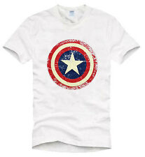 Men's T-Shirt Captain America Hero White Size M