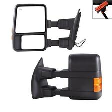 08-16 Ford F250-F550 Super Duty Towing Power Heated Mirrors Black Pair