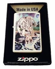 Zippo Custom Lighter Celestial White Bengal Tigers & Cubs Moon & Stars