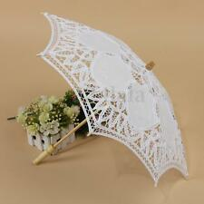 Handmade White Lace Cotton Wedding Bridal Umbrella Parasol Party Decoration