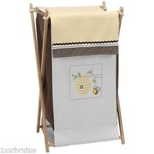 Kidsline Cute As Can Bee Laundry Hamper Neutral Nursery White Brown Yellow Honey