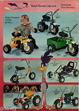 1972 ADVERT 6 PG Kid's Toy Pedal Cars Mini Bike Road Runner Go Cart Murray Tract
