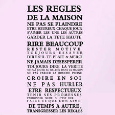 "Fashion ""House rules"" of French version quote waterproof wall sticker Home Decor"