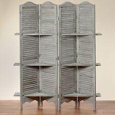 PARAVENTO con scaffale Jive 180x140x30 cm Shabby Grigio 4 PEZZI DIVISORI IN LEGNO NUOVO