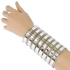 "5"" silver long cage tunnel cuff bracelet bangle"