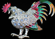 """MULTI COLOR ENAMEL CLEAR RHINESTONE GAME COCK ROOSTER HEN BIRD PIN BROOCH 2 1/2"""""""