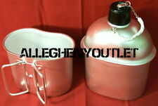 Military Style Aluminum 1 QUART 1QT CANTEEN w/ BUTTERFLY HANDLE CANTEEN CUP NEW