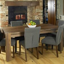 Shiro solid walnut dark wood dining room furniture six seater dining table