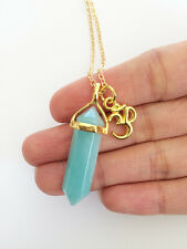 Amazonite Point Necklace Ohm Charm Om Crystal Pendant Gold Gemstone Green NEW