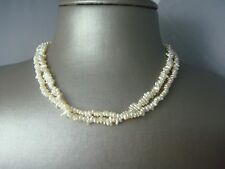 """FINE CHINESE 2 STRAND GENUINE PEARL VERMEIL STERLING SILVER CLASP 16"""" NECKLACE"""