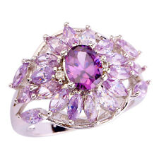 Vintage Classic Marquise Cut Amethyst Tourmaline Gemstone Silver Ring US Size 9