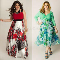 Women Ladies Summer Chiffon Long Summer Floral Boho Maxi Dress Plus Size 8-20