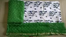 white & green Bandhani/Bandhej,cotton silk dress material with Dupatta