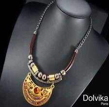 Luxus Lederkette Halskette Dolvika Paris Kette Leder Leopard Koralle Kristall