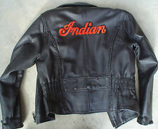 "INDIAN MOTORCYCLE EMBRD ""SCRIPT"" PATCH ~ 'LARGE' 10""x3""  IRON OR SEW ~ PRISTINE!"
