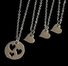 4 Silver Plated Mom and 3 Daughters Heart Pendant Necklaces Mothers day gift USA