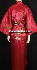 Embroidered Floral Design Silk Satin Kimono Robe Sleepwear w/ Waist Tie Burgundy