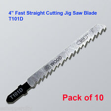"10x T101D 4"" 100mm T-shank Straight Jig Saw Blades fits Bosch HCS Wood Cutting"
