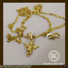 Baby Holy Angel Pendant and Link Chain 14k Solid Yellow Gold NOW ON SALE!!
