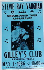 "Stevie Ray Vaughan Concert Poster - 1986 - Gilley's Club, Pasadena, TX - 14""x22"""
