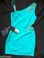 NWT bebe blue Dress silver side cutout one strap bodycon skirt top party L club