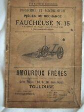 AMOUROUX DIAGRAMME NOMENCLATURE PIECES DE RECHANGE FAUCHEUSE N° 15