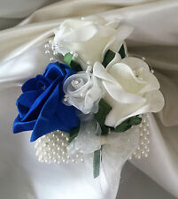 Wedding Flowers Ivory/Royal Roses Crystal Bouquet, Bride/Bridesmaids/Buttonholes