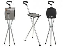 Folding Tripod Cane With Seat Stability Walking Stick Tri-Pod Stool Handle Summi