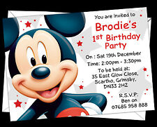 Personalised Mickey Mouse Birthday Party Invitations x12