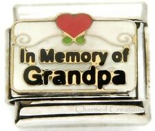 In Memory Of My Grandpa 9mm Italian Charm Red Heart Scrolls Stainless Link
