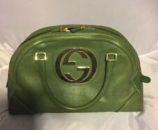 Rare Authentic Gucci Blondie Green Leather Bowler with Gold GG!