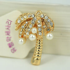 XS009 Coconut Tree Keyring Rhinestone Crystal Charm Pendant Pearls Key Chain Bag