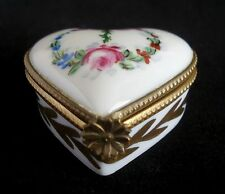 ANTIQUE PILLIVUYT HEART SHAPED HINGED TRINKET BOX HAND PAINTED FLORAL DESIGN