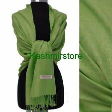New Pashmina Paisley Floral Silk Wool Scarf Wrap Shawl Soft Fruit green #e305y