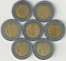 7 BI-METAL 1 PESO COINS from MEXICO (1996, 1997, 1998, 1999, 2000, 2001 & 2002).