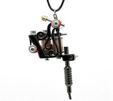 Steampunk Gothic Gunmetal Mini Tattoo Machine Necklace Pendant Gift 17-3/4""