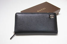 New Men's GUCCI Black Leather GG WEB Zip Around Authentic Wallet