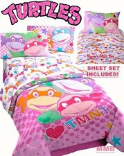 GIRLS Pink TEENAGE MUTANT NINJA TURTLES TWIN Size COMFORTER BEDDING Set+Sheets