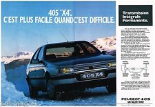 Publicité Advertising 1989 (2 pages) Peugeot 405  X4