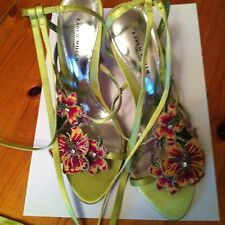 Karen Millen Long Lace Up Strappy Green Satin Shoes Size 4 Leather + Flowers