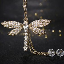 Fashion Bead Dragonfly Crystal Keyring Charm Pendant Purse Bag Key Ring Keychain