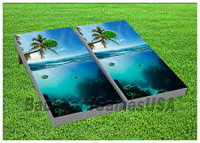 CORNHOLE BEANBAG TOSS GAME w Bags Game Boards Ocean Fish Palm Trees Sea Set 961
