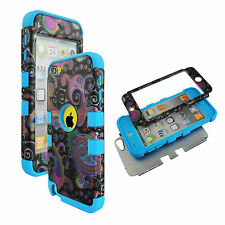 Blue Black  Paisley Hybrid 3 in 1 Apple  Ipod Touch 5 Case Hard Cover Faceplate